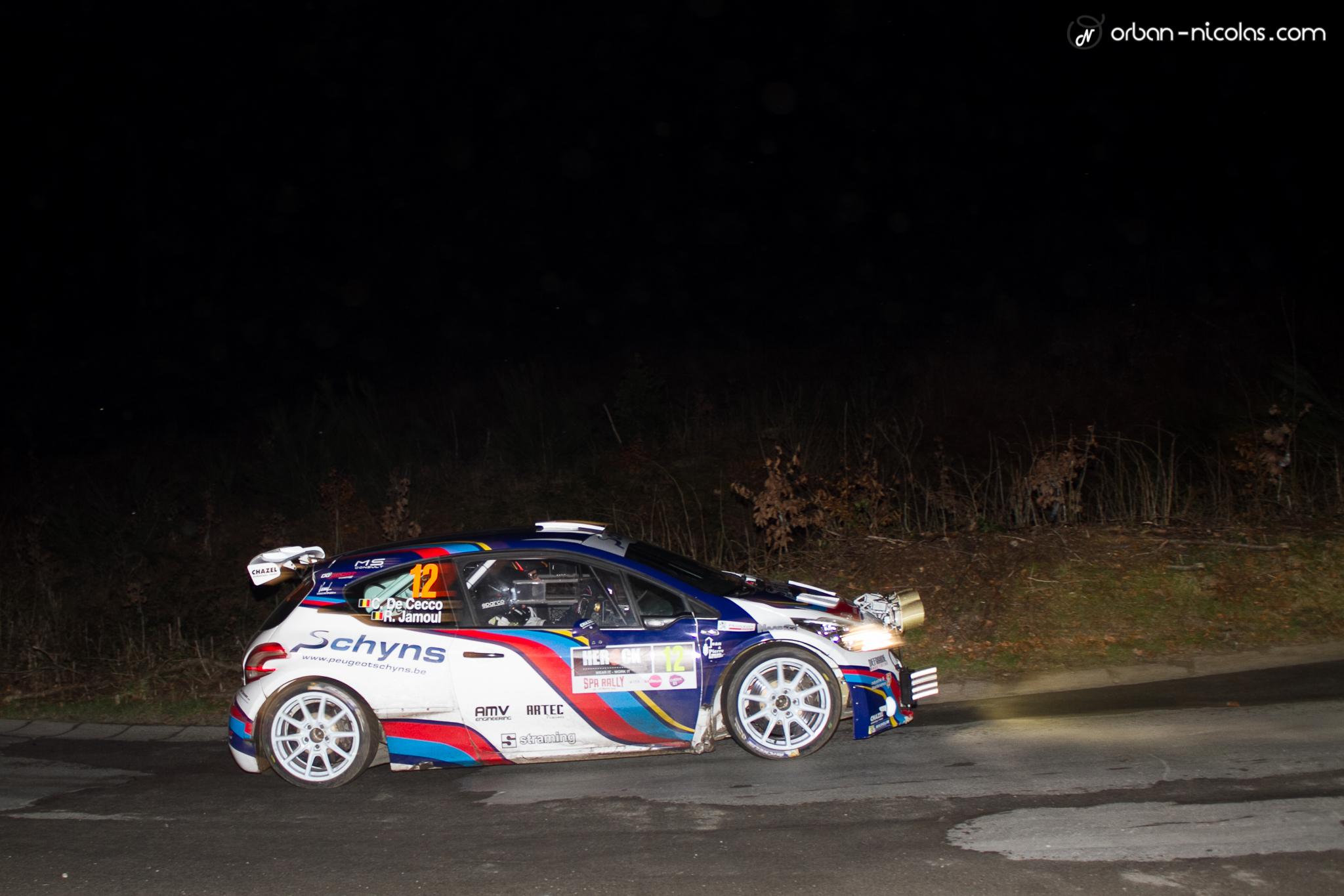Cédric De Cecco opnieuw aan het stuur van een Peugeot 208 T16 R5 tijdens de Rally van Condroz-Huy