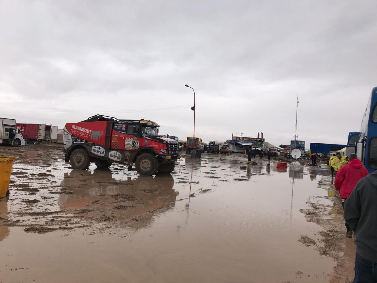 Mammoet rallysport: hevige regenval in Bolivia; zesde etappe afgelast