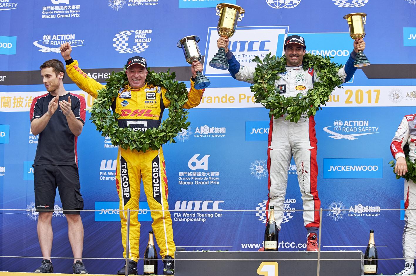 Langverwachte en verdiende podiumplaats voor Tom Coronel in FIA WTCC Opening Race Macau