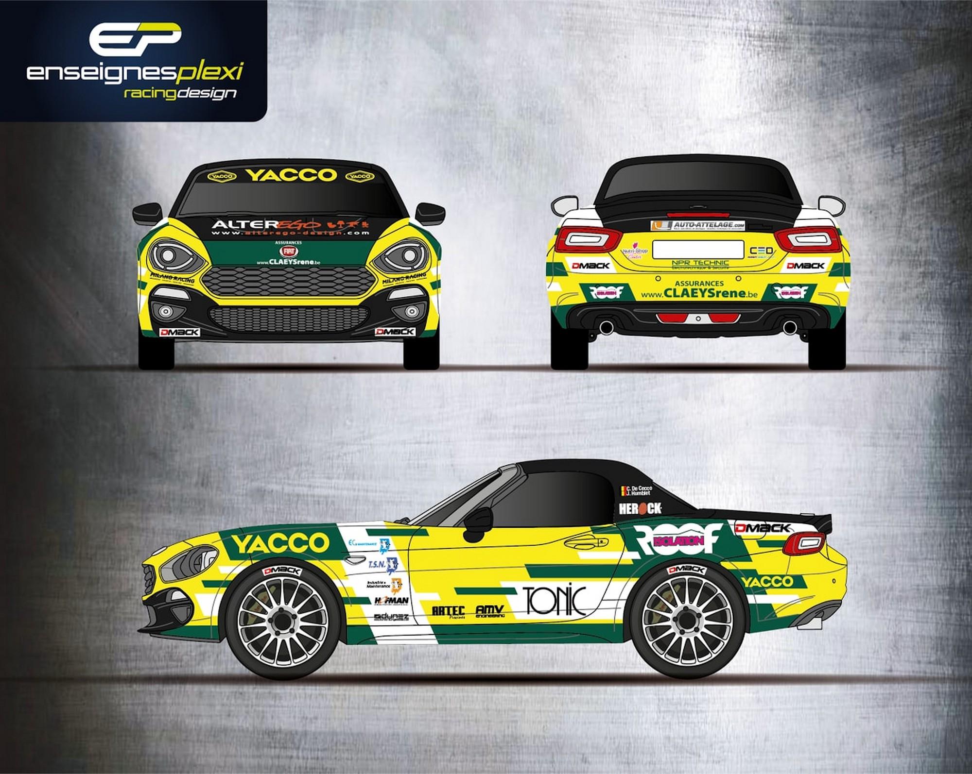 Cédric De Cecco in Spa, Wallonie en Condroz  met een Abarth 124 Rally R-GT in de kleuren van Yacco België