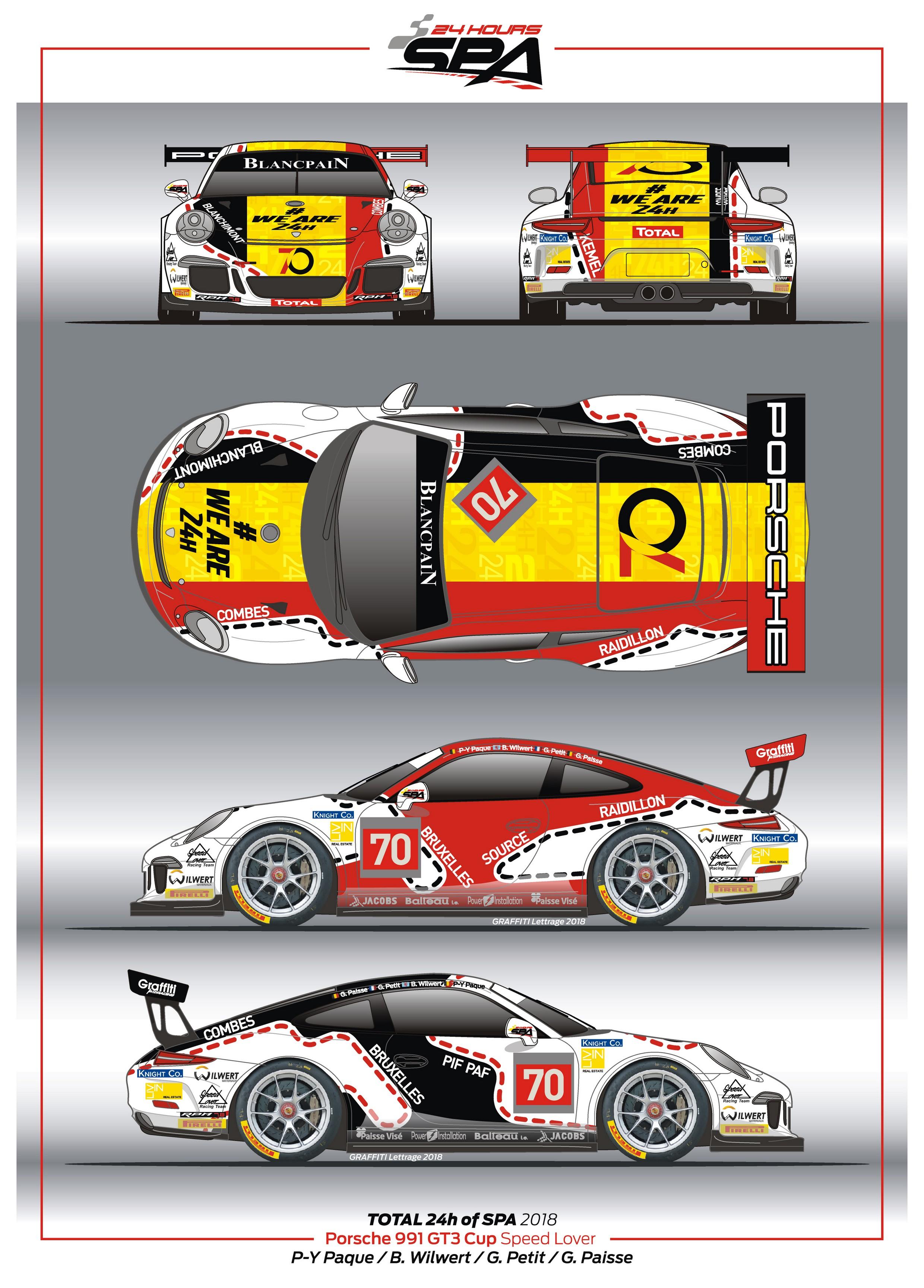 Paque-Paisse-Wilwert-Petit met een Porsche 991 GT3 Cup Speedlover Racing #70 #weare24H!